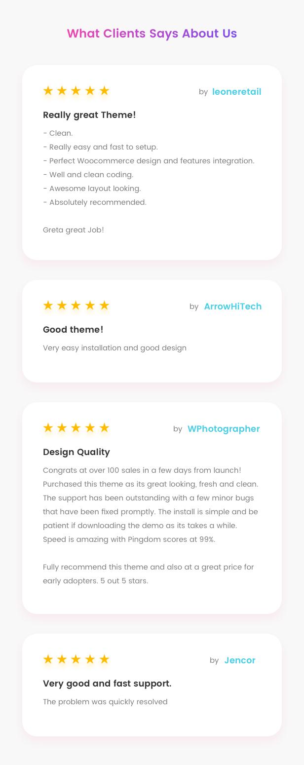 Fashion WooCommerce WordPress Theme - Customer's reviews