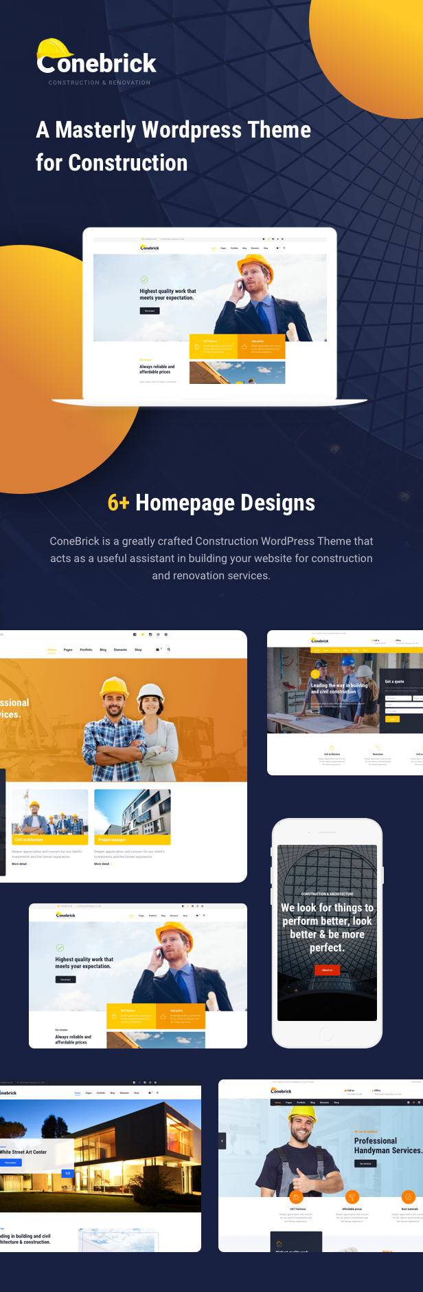 Building Company WordPress Theme - 6+ Homepages