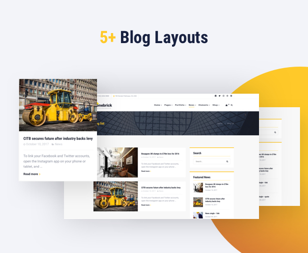 Building Company WordPress Theme - 5+ Blog Layouts
