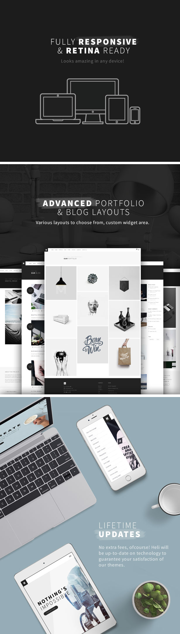 rMinimal Creative Black and White WordPress Theme - esponsive & retina