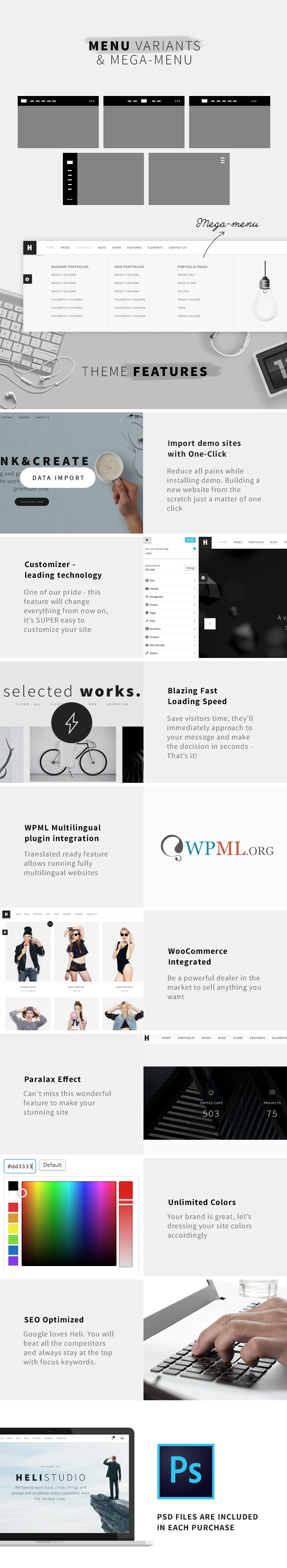 Minimal Creative Black and White WordPress Theme - Various layouts of black n white theme like Heli