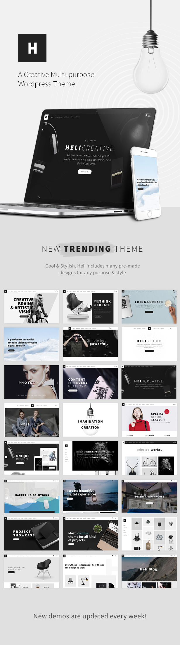 Minimal Creative Black and White WordPress Theme - 40+ multipurpose demo wordpress theme
