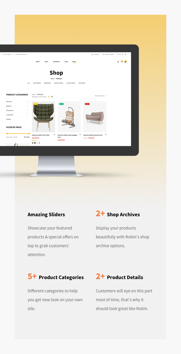 Furniture Shop WooCommerce WordPress Theme - Shop by brand filter